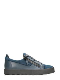 Giuseppe Zanotti-Sneakers basse in pelle e camoscio blue