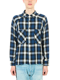 Mr.Completely-Camicia Raglan Flannel in cotone blu