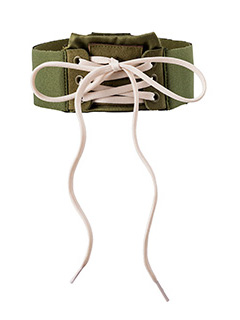 Puma Fenty-Lace Up Choker in tessuto elastico verde