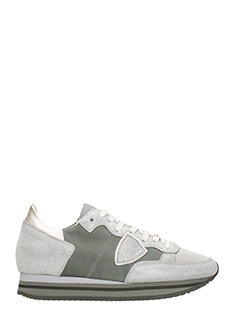 Philippe Model-Tropez Higher silver leather sneakers