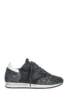 Philippe Model-Tropez black glitter leather sneakers