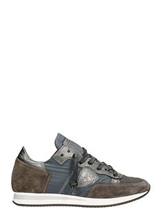 Philippe Model-Sneakers Tropez Lace Up in tessuto e suede grigio