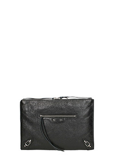 Balenciaga-Clutch Classic Pouch Metallic black Edge