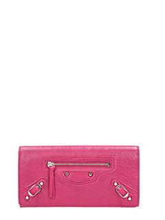 Balenciaga-Portafoglio Classic Silver Money in pelle rosa
