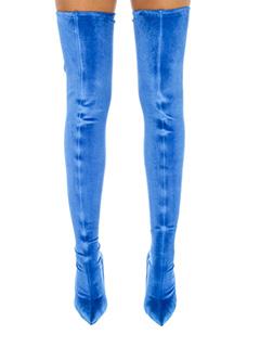 Balenciaga-Stivali Cuissardes in velluto elastico blue