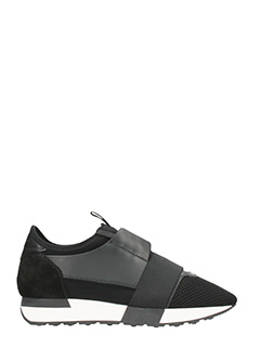 Balenciaga-Sneakers Race Runner in pelle e neoprene nero