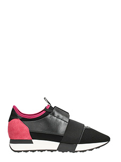 Balenciaga-Sneakers Race Runner in pelle e neoprene nero fucsia