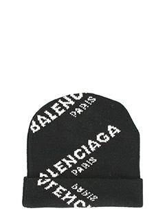 Balenciaga-Cappello Jacquard Logo Printed in lana nera
