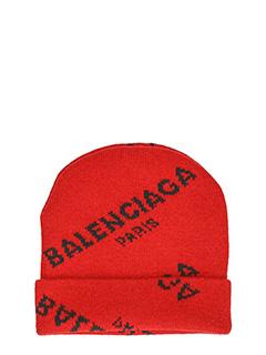 Balenciaga-Cappello Jacquard Logo cap in lana rossa nera