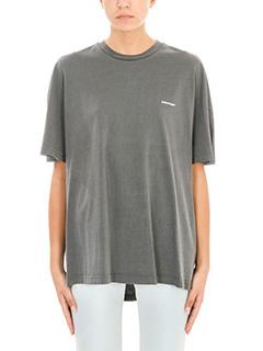 Balenciaga-T-Shirt Logo in cotone grigio