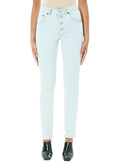 Balenciaga-Stonewhashed fitted high waisted jeans
