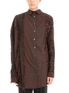 Damir Doma-Camicia Seto in cotone a righe nero  ruggine