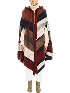 Chloé-Knitted Stripe Hooded Poncho