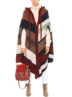 Chloé KNITTED STRIPE HOODED PONCHO 2