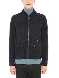 Lanvin-Giacca in pelle navy blue