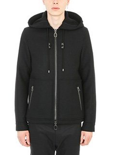 Lanvin-Giubbino Hooded in lana nera