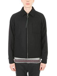 Lanvin-Giubbotto Hooded in lana nera