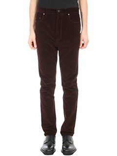 Lanvin-Pantalone in velluto burgundy