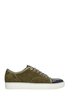 Lanvin-Sneakers Top Cap in camoscio verde