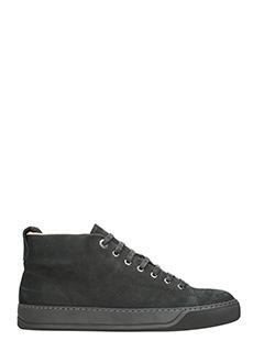 Lanvin-Sneakers Mid Top in pelle scamosciata nera