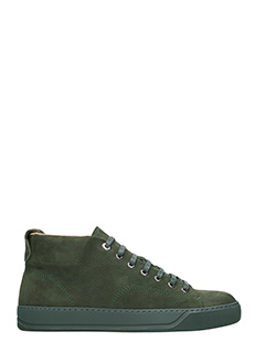 Lanvin-Sneakers Mid Top in pelle scamosciata verde scuro