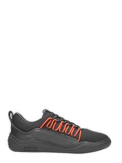 Lanvin-Sneakers Diving Elastic in pelle e tessuto nero