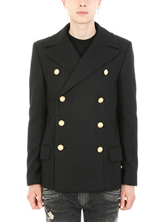 Balmain-Cappotto in lana nera