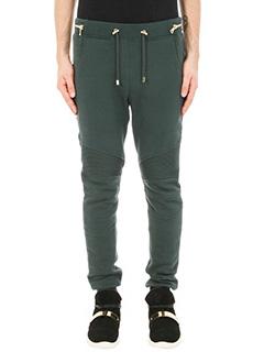 Balmain-Jogging biker green jersey pants