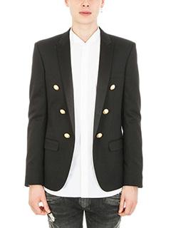 Balmain-Open black cotton blazer
