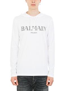 Balmain-Felpa logo in cotone leggero bianco
