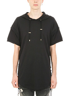 Balmain-Hooded black cotton t-shirt