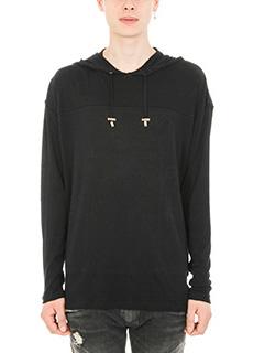 Balmain-Hoodie black wool sweater