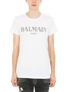 Balmain-T-shirt Logo in cotone bianco