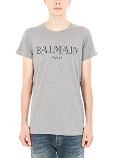 Balmain-T-shirt Logo in cotone grigio