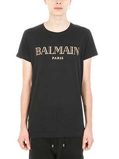 Balmain-T-shirt Logo in cotone nera