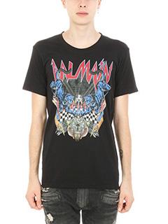 Balmain-T-shirt Panthere in cotone nero