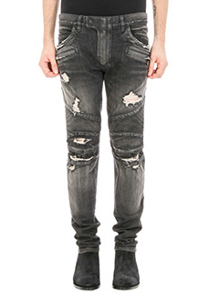 Balmain-Jeans Biker Distressed in denim nero
