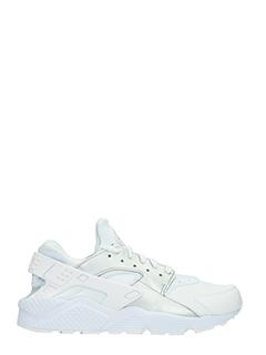 Nike-Sneakers Huarache in pelle e camoscio bianco argento