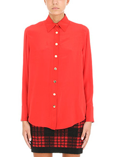 Balmain-Camicia in seta rossa