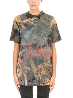 Balmain-T-Shirt Panther Print in jersey multicolor