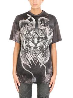 Balmain-T-Shirt Oversize Tiger in cotone nero grigio
