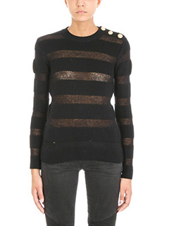 Balmain-Button-detail striped wool-blend jumper