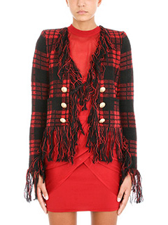 Balmain-Giacca Frange in lana rossa nera