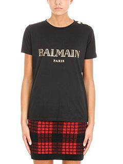 Balmain-T-Shirt Logo in cotone nero