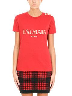 Balmain-T-Shirt Logo in cotone rosso