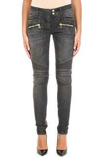 Balmain-Jeans Biker Low Low Rise in cotone grigio