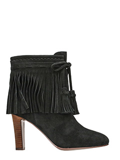 See by Chloé-Fringed suede black ankle boots