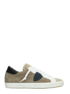 Philippe Model-Sneakers Classic in suede beige e pelle bianca