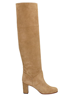 L'Autre Chose-Dark brown suede and leather knee boots