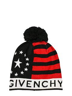 Givenchy-Cappello in lana nera rossa bianca